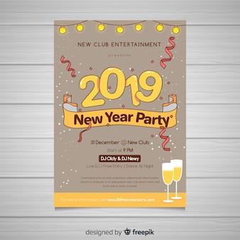 Flyer de fiesta de año nuevo 2019