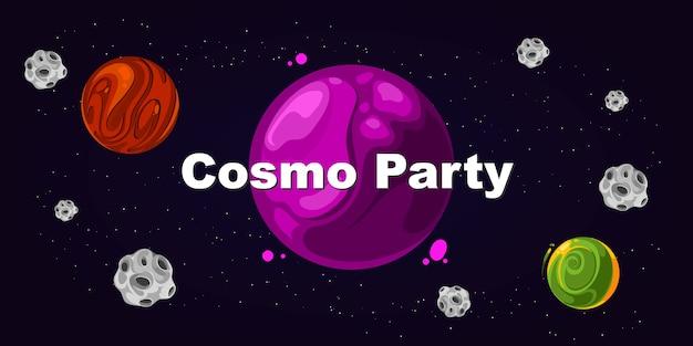 Flyer para fiesta, fiesta cosmo. evento de plantilla de tarjeta de cartel, ilustración