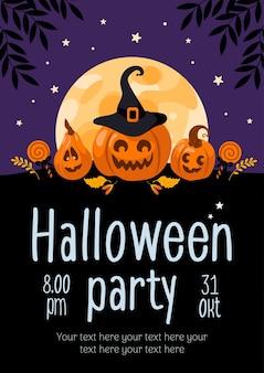 Flyer de fiesta de halloween calabaza jackolantern lollipop moon para banner publicitario cartel flyer