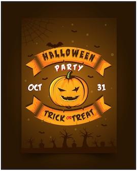Flyer fiesta de halloween ilustración de invitación esqueleto de calabaza