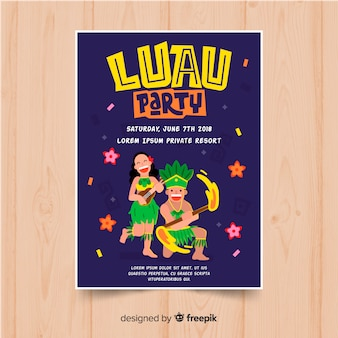 Flyer de fiesta luau