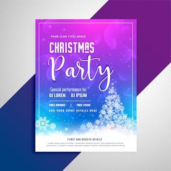 Flyer de la fiesta de navidad con árbol de copos de nieve
