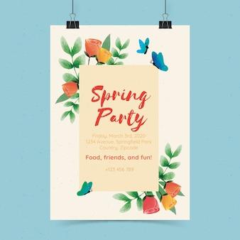 Flyer de fiesta de primavera de diseño plano con flores y mariposas