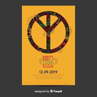 Flyer de fiesta reggae con símbolo de la paz