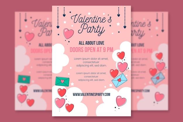 Flyer de fiesta de san valentín de diseño plano