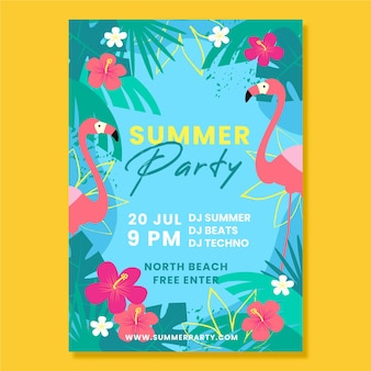 Flyer de fiesta de verano de diseño plano