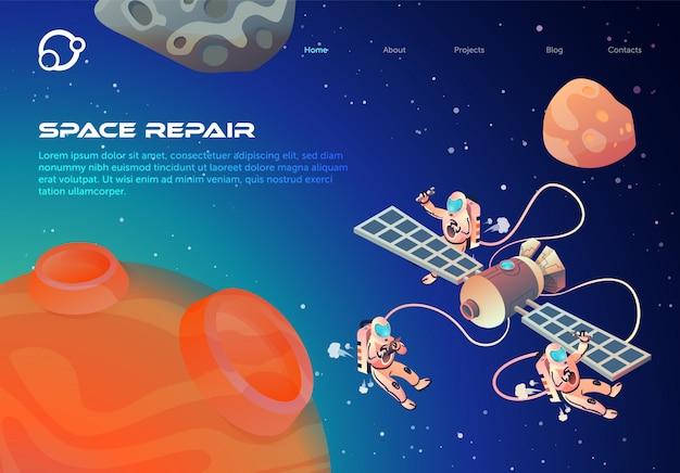 Flyer informativo reparación de espacio letras de dibujos animados.