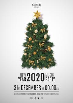 Flyer moden merry christmas party con árbol de navidad realista