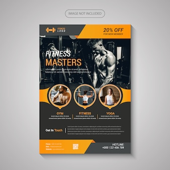 Flyer moderno de fitness y gimnasio