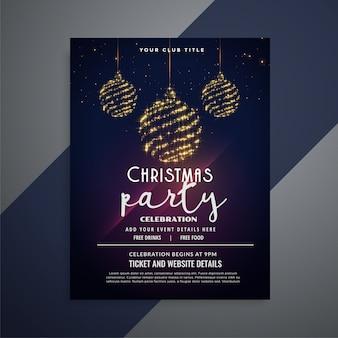 Flyer navideño oscuro con brillantes bolas de navidad
