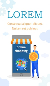 Flyer plano de compras por internet, plantilla de folleto