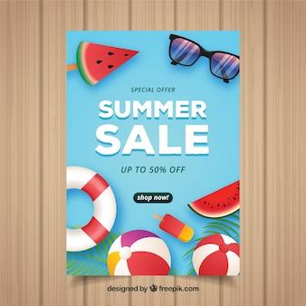 Flyer realista de rebajas de verano