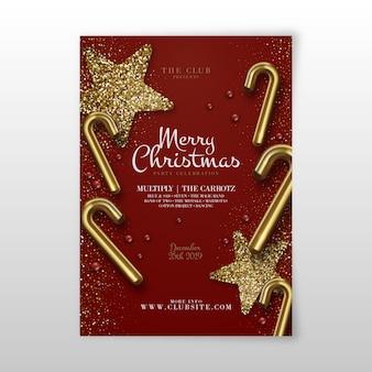Flyer realista plantilla fiesta de navidad