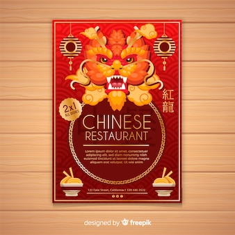 Flyer restaurante chino dragón dibujado a mano