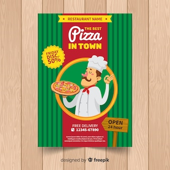 Flyer restaurante pizza chef dibujado a mano