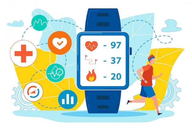 Flyer smart watch con indicadores de salud planos.