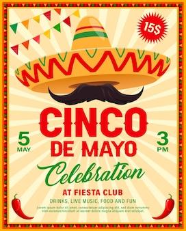 Flyer de sombrero del cinco de mayo de la fiesta mexicana
