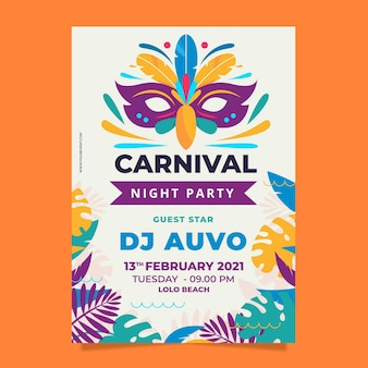 Flyer template carnaval brasileño diseño plano