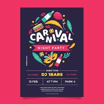 Flyer template carnaval brasileño