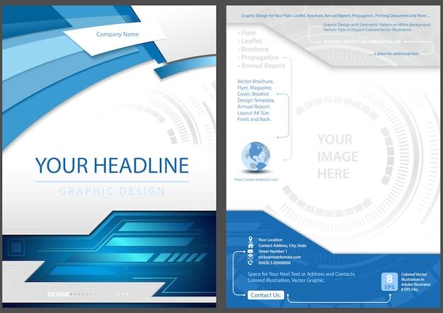 Flyer template diseño frontal y posterior en blue tech style
