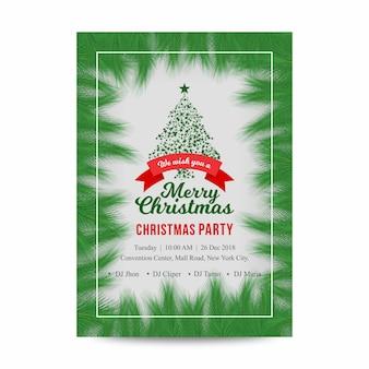 Flyer verde del cartel de la fiesta de navidad