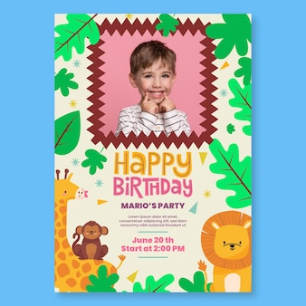 Flyer vertical de cumpleaños infantil.