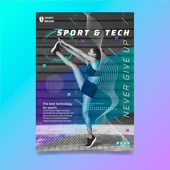 Flyer vertical de deporte y tecnología.