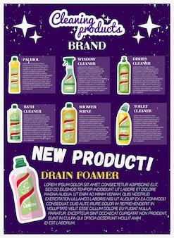 Flyer vertical publicitario de nuevos productos de limpieza.