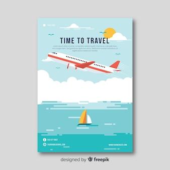 Flyer viaje avión plano