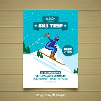 Flyer de viaje de esquí