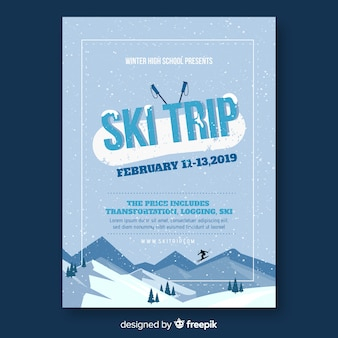 Flyer de viaje para esquiar