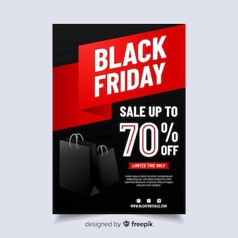Flyer viernes negro en diseño plano