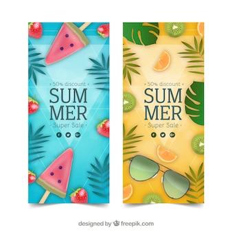Flyers de rebajas de verano con frutas