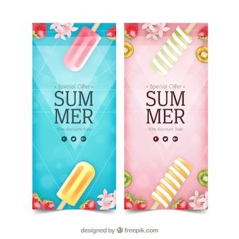 Flyers de rebajas de verano con helados