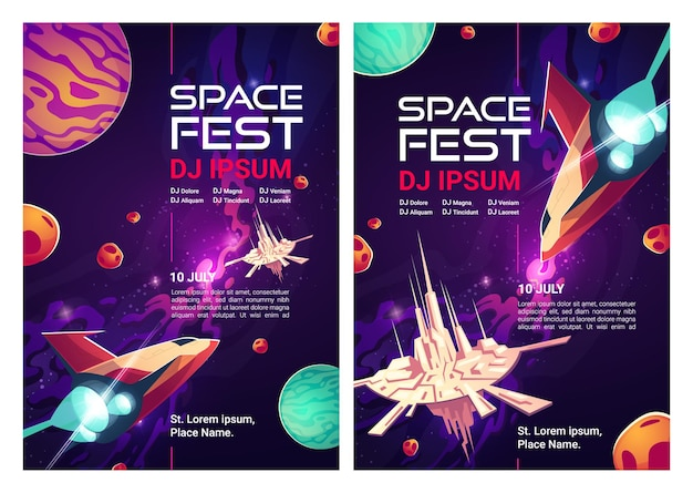 Flyers de space dj fest, carteles de fiestas musicales