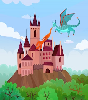 Flying dragon castle composition