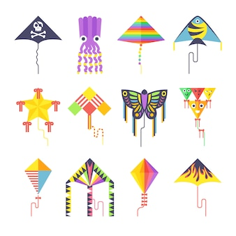 Flying kite vector collection isolated