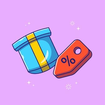 Flying surprise gift box y etiqueta de descuento icono plano ilustración aislada
