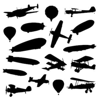 Flying transport hot air silueta de antigüedades
