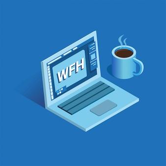Fmh - work from home, ilustración con laptop y taza de café