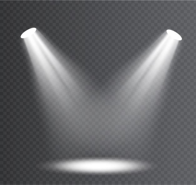 Foco blanco. efecto de luz efecto de luz transparente blanco aislado resplandor. diseño de elemento de efecto especial abstracto.