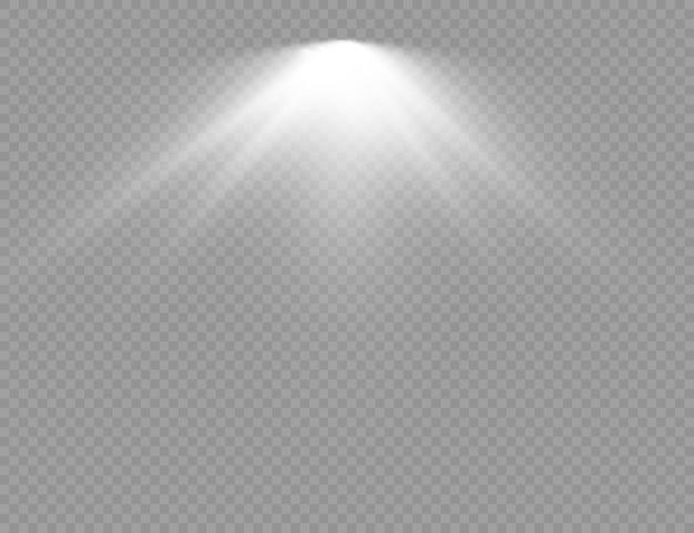 El foco brilla con efecto de luz flash.