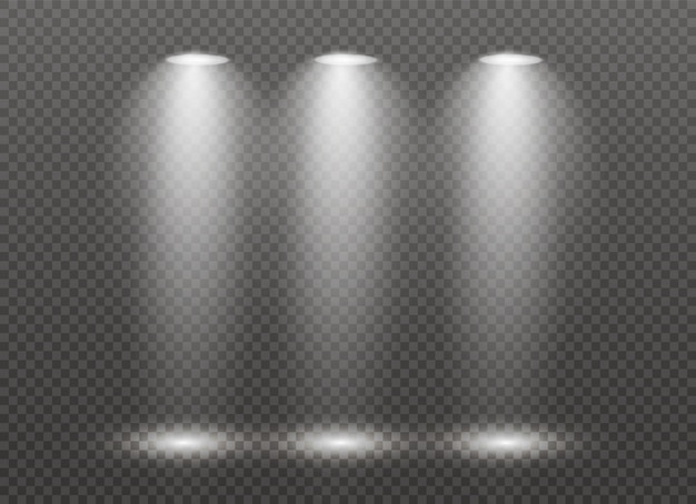 El foco brilla en el escenario. luz uso exclusivo efecto de luz de flash de lente luz de una lámpara o foco. escena iluminada podio bajo los reflectores.