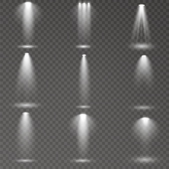 El foco brilla en el escenario. luz uso exclusivo efecto de luz de flash de lente. luz de una lámpara o foco. escena iluminada podio bajo los reflectores.