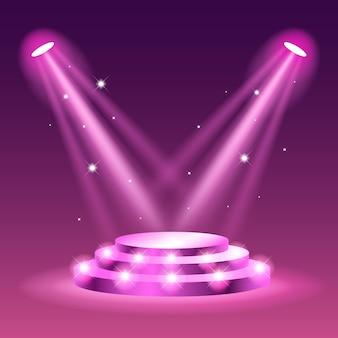 Foco en la escena del escenario. pedestal vacío iluminado