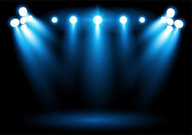 Foco de iluminación azul brillante del estadio arena