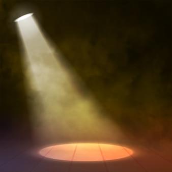 Foco reflector ilumina escena de madera con circulo