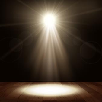 Foco en el rendimiento del espectáculo con piso de madera