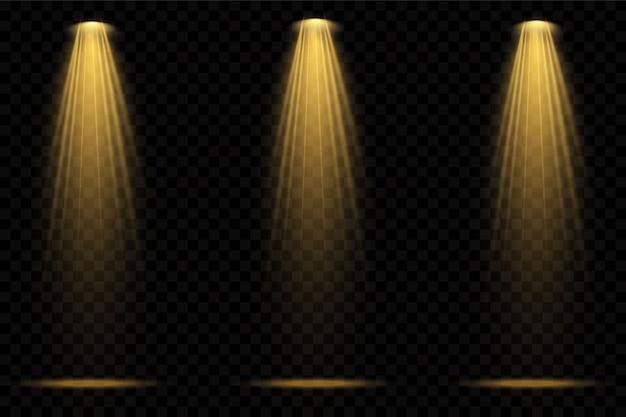 Focos amarillos. escena. efectos transparentes de luz.
