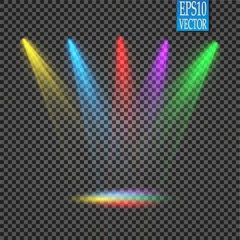 Focos. efectos de luz de escena. efecto de luz brillante.